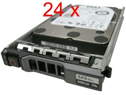"24x Dell 600GB 10K SAS 2.5"" SAS 6Gb/s HDD 5TFDD for Dell PowerEdge Server +caddy"